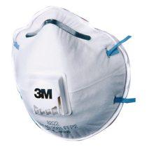 3M csésze formájú FFP2-es szelepes maszk orrcsíptetővel és gumis pánttal