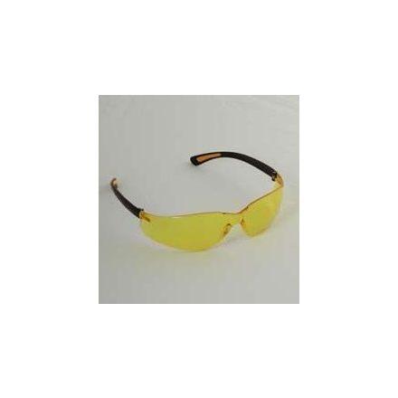 UV szűrős polikarbonát szemüveg sárga lencsével, fekete kerettel